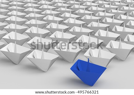 Leadership concept. Blue paper ship among white with clipping path. 3d render