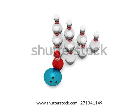 Leadership concept. Bowling on a white background. 3d render  - stock photo