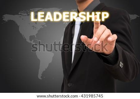 Leadership concept  business man selecting virtual interface. - stock photo