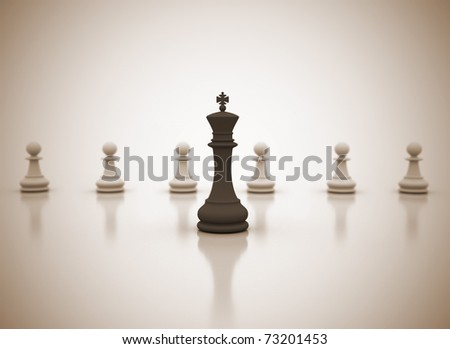 Leadership concept chess illustration - stock photo