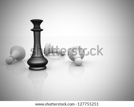 Leadership concept chess illustration -3d render