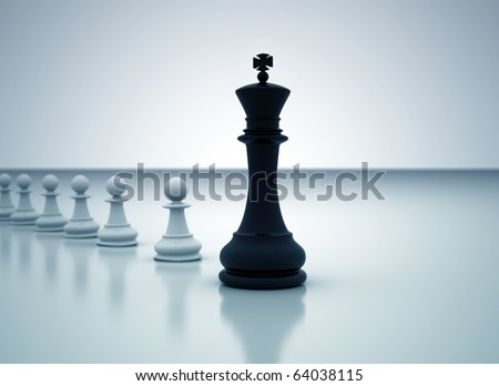 Leadership concept - Chess king leading the pawns - stock photo