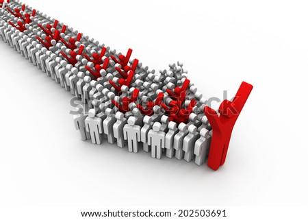 leadership concept, 3d illustration  - stock photo