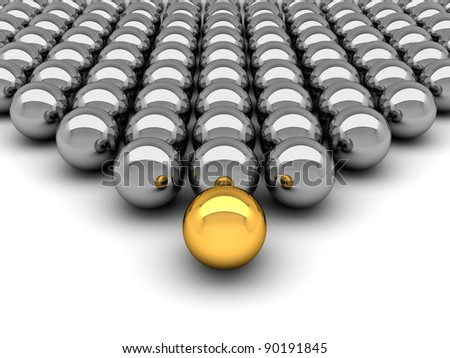 Leadership concept - 3D illustration chrome balls - stock photo
