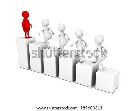 leadership concept 3d people grow on bar chart. business render illustration