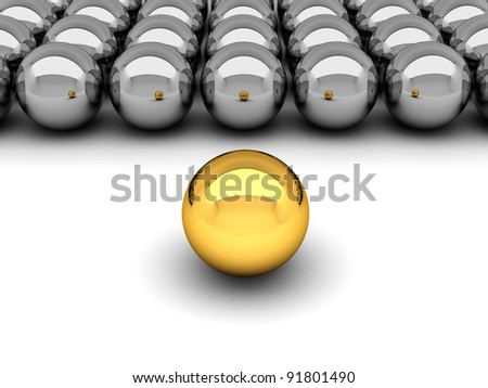 Leadership concept - gold and silver balls - stock photo