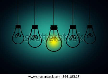 Leadership Concept - One light bulbs with glowing one isolated over light blue background