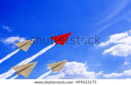 Leadership concept, paper plane on blue sky background, business success concept