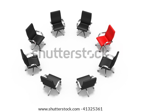 Leadership concept - red chair among black chairs - stock photo