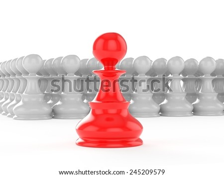 leadership concept red pawn forward white pawns team group - stock photo