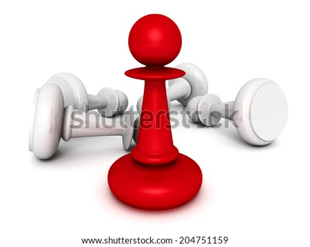 leadership concept red pawn forward white pawns team group. 3d render illustration