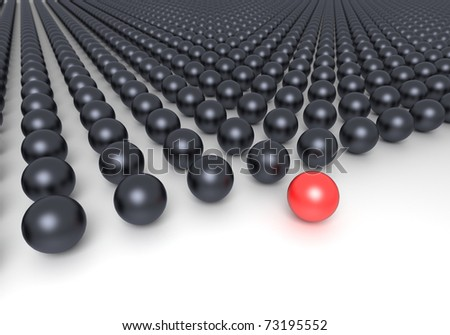 Leadership concept. Red sphere and multiple black spheres - stock photo