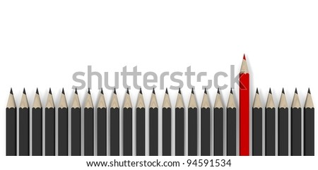 Leadership concept - row of gray pencils with red one - stock photo