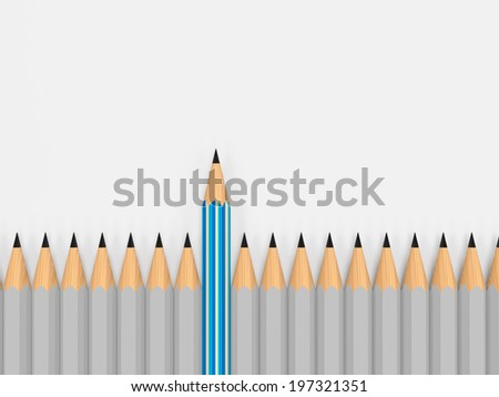 leadership concept through one pencil stand out - stock photo