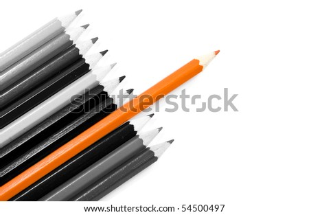 leadership concept with color pencils - stock photo