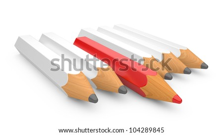 leadership concept with color pencils on a white background - stock photo