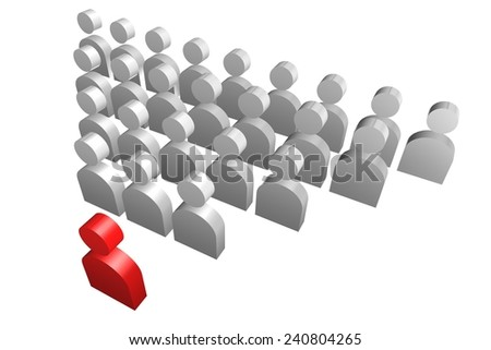 Leadership concept with 3d human icon illustration - stock photo