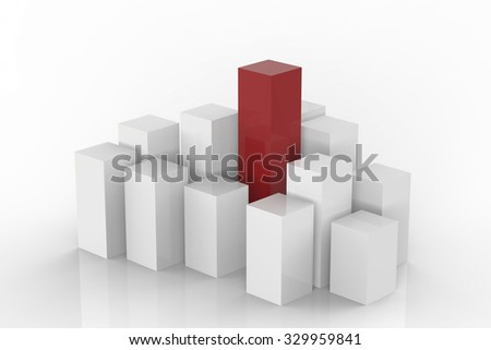 leadership concept with 3d rendered red and white buildings on white background