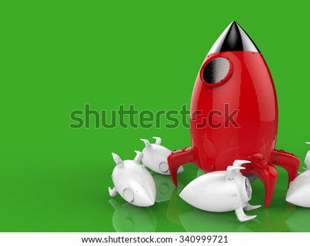 leadership concept with 3d rendered red rocket on green background - stock photo