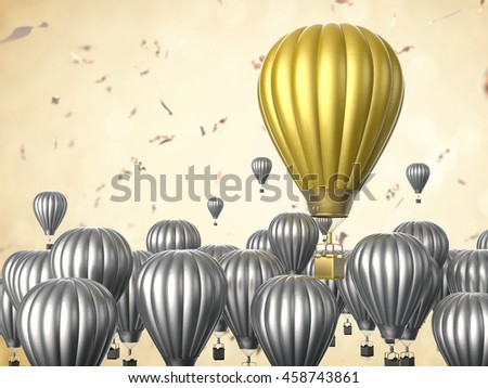 leadership concept with 3d rendering golden hot air balloon - stock photo