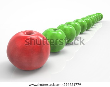 leadership concept with 3d rendering red apple at front - stock photo