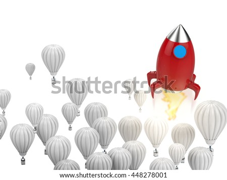 leadership concept with 3d rendering red rocket above white hot air balloons - stock photo