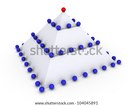 Leadership concept with 3d spheres on pyramid - stock photo