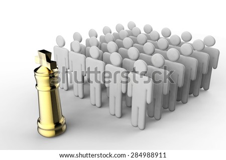 leadership concept with golden chess king and team of workers - stock photo