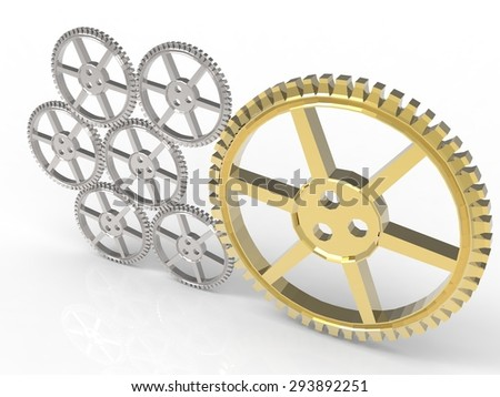 leadership concept with golden gear and silver gears