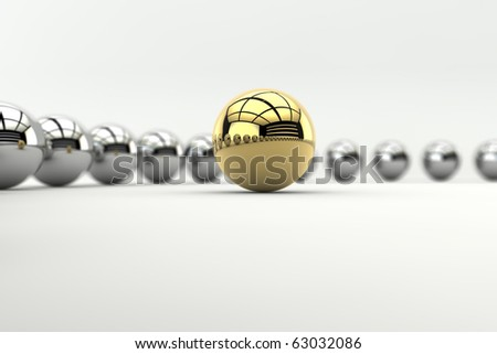 Leadership concept with golden sphere and many chrome spheres with depth of focus effect - stock photo