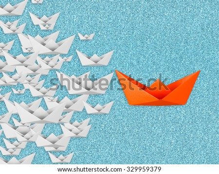 leadership concept with paper boat  - stock photo