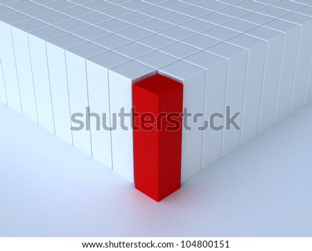 Leadership concept with red 3d cube - stock photo