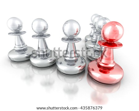 Leadership Concept with Red Pawn Forward Other Team Group. 3d render illustration - stock photo