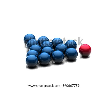 Leadership concept with  red sphere from blue team group; Stand out from the crowd  - stock photo