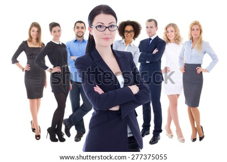 leadership concept - young business woman and her  colleagues isolated on white background - stock photo