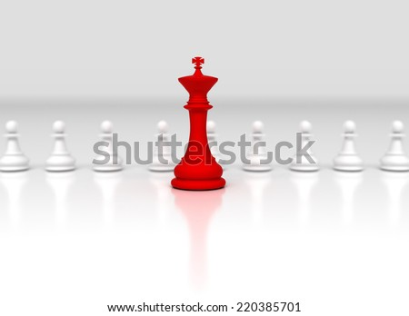 Leadership conceptual background. Chess king in front  - stock photo