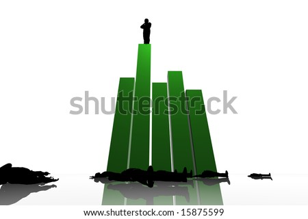 leadership 3d King Of The Hill - stock photo