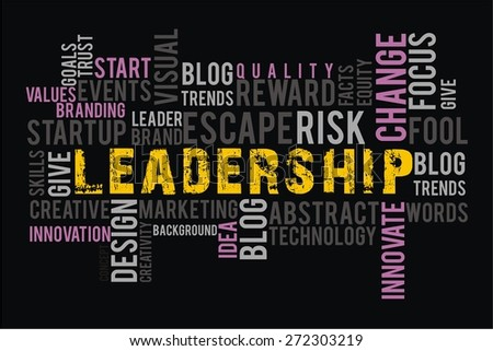 leadership in words cloud collage with black background color - stock photo