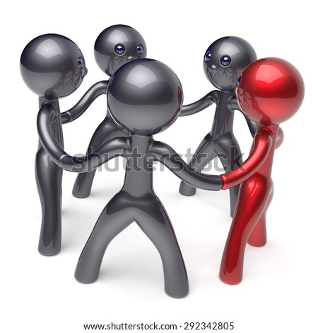 Leadership man teamwork circle people social network individuality character human resources friendship team five cartoon friends unity meeting icon concept red black. 3d render isolated - stock photo