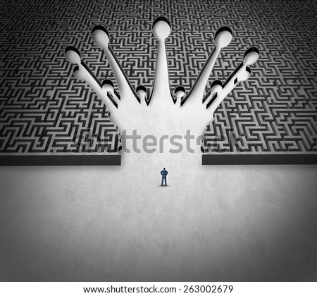 Leadership maze business concept as a person standing in front of a labyrinth shaped as a king crown as a success symbol for career goal strategy and planning a journey to the top of an organization. - stock photo