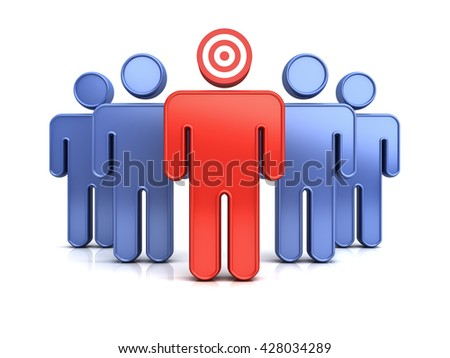 Leadership or red target man standing out from the crowd concept isolated over white background with shadow and reflection. 3D rendering.