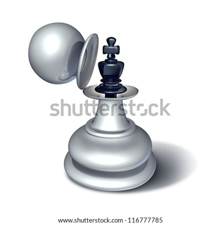 Leadership potential and emerging business confidence as a chess game king figurine revealed inside a large pawn disguise as a concept for planning a strategy of successful management on white. - stock photo