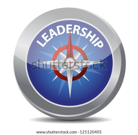 leadership red word indicated by compass illustration design over white - stock photo