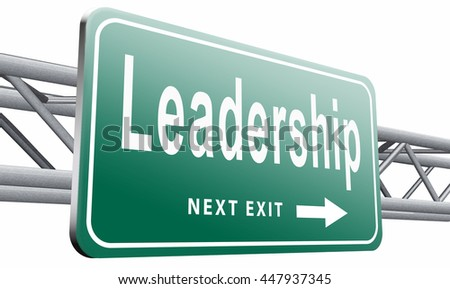 leadership road sign, follow team or way to success concept business or market leader, 3D illustration isolated on white background.