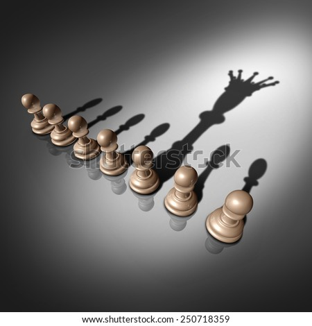 Leadership search and business recruitment concept as a group of pawn chess pieces and one individual standing out with a king crown cast shadow as a metaphor for the chosen one. - stock photo