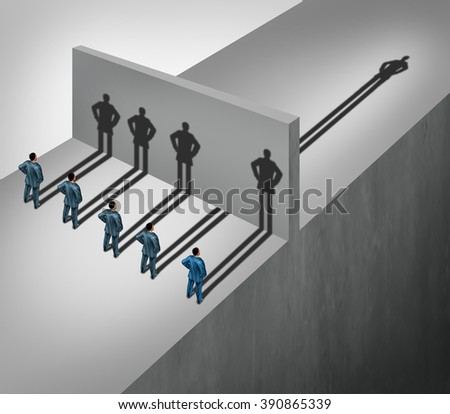 Leadership skill business concept as a group of people casting shadows stopping at a wall but one individual businessman has a shadow leap through the obstacle as an ability to succeed metaphor. - stock photo