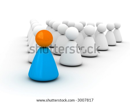 leadership (society for leader, 3D for printing or WEB) - stock photo