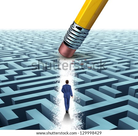 Leadership Solutions with a businessman walking through a complicated maze opened up by a pencil eraser as a business concept of innovative thinking for financial success. - stock photo