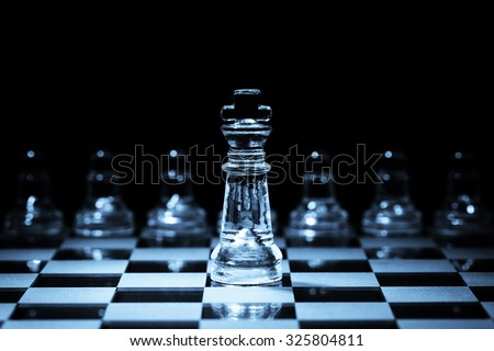 Leadership, strategy and competition business concept king protecting his team - stock photo