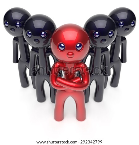 Leadership stylized red character teamwork black men crowd businessman team leader individuality five cartoon persons icon social relationship friends concept 3d render isolated - stock photo